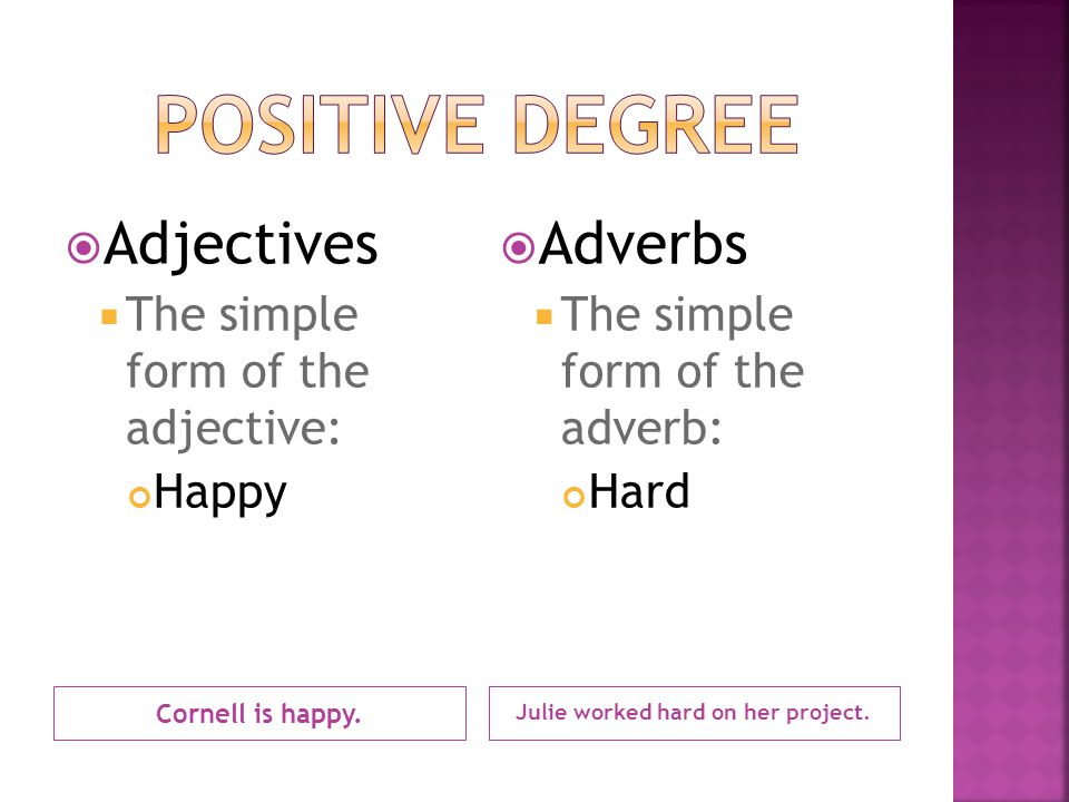 Cornell is happy. Julie worked hard on her project.  Adjectives  The simple form of the adjective: Happy  Adverbs  The simple form of the adverb:
