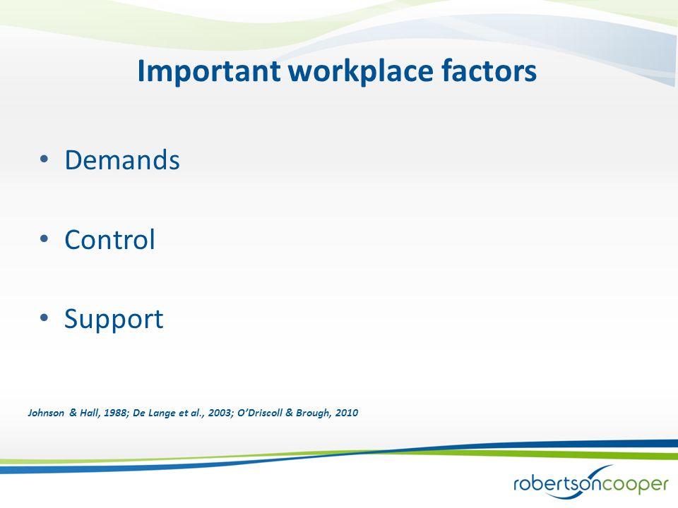 Important workplace factors Demands Control Support Johnson & Hall, 1988; De Lange et al., 2003; O'Driscoll & Brough, 2010