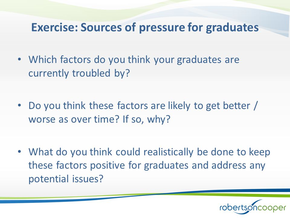Exercise: Sources of pressure for graduates Which factors do you think your graduates are currently troubled by.