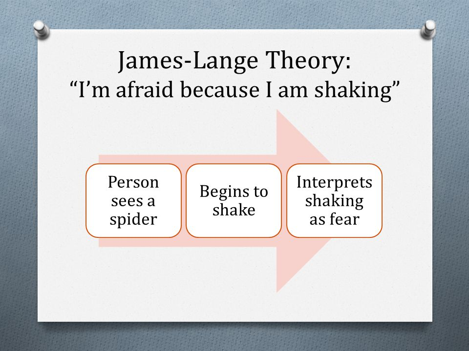 James-Lange Theory: I'm afraid because I am shaking Person sees a spider Begins to shake Interprets shaking as fear