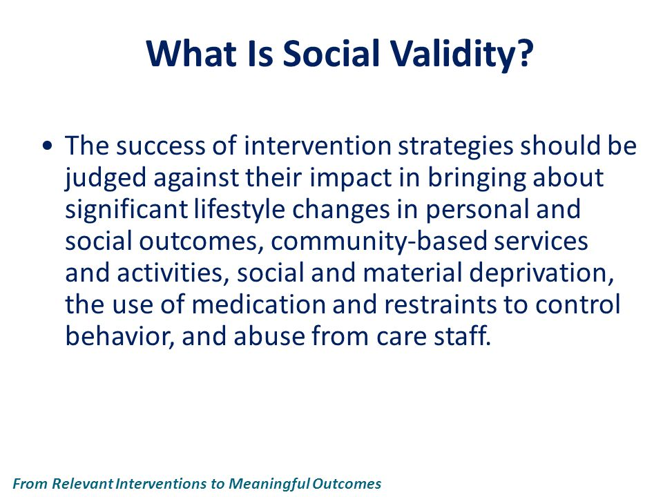 What Is Social Validity.