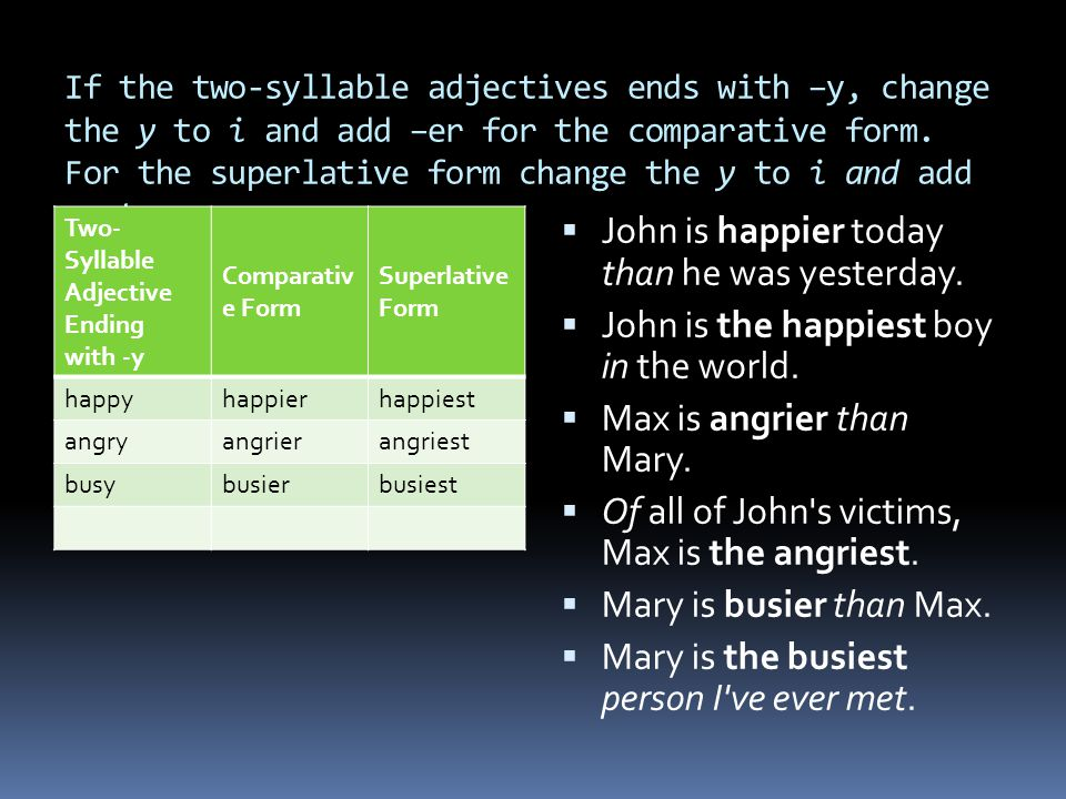 If the two-syllable adjectives ends with –y, change the y to i and add –er for the comparative form. For the superlative form change the y to i and ad