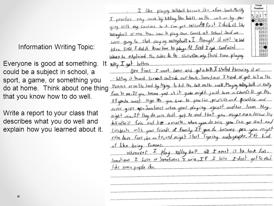 Information Writing Topic: Everyone is good at something.