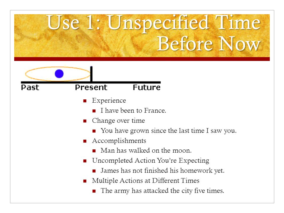 Use 1: Unspecified Time Before Now Experience I have been to France.