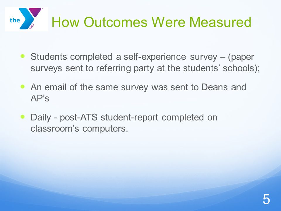 How Outcomes Were Measured Students completed a self-experience survey – (paper surveys sent to referring party at the students' schools); An email of the same survey was sent to Deans and AP's Daily - post-ATS student-report completed on classroom's computers.