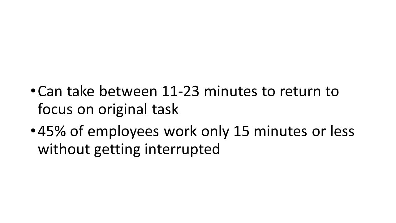 Can take between 11-23 minutes to return to focus on original task 45% of employees work only 15 minutes or less without getting interrupted