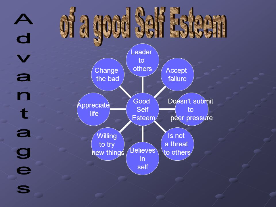 Good Self Esteem Leader to others Accept failure Doesn't submit to peer pressure Is not a threat to others Believes in self Willing to try new things Appreciate life Change the bad