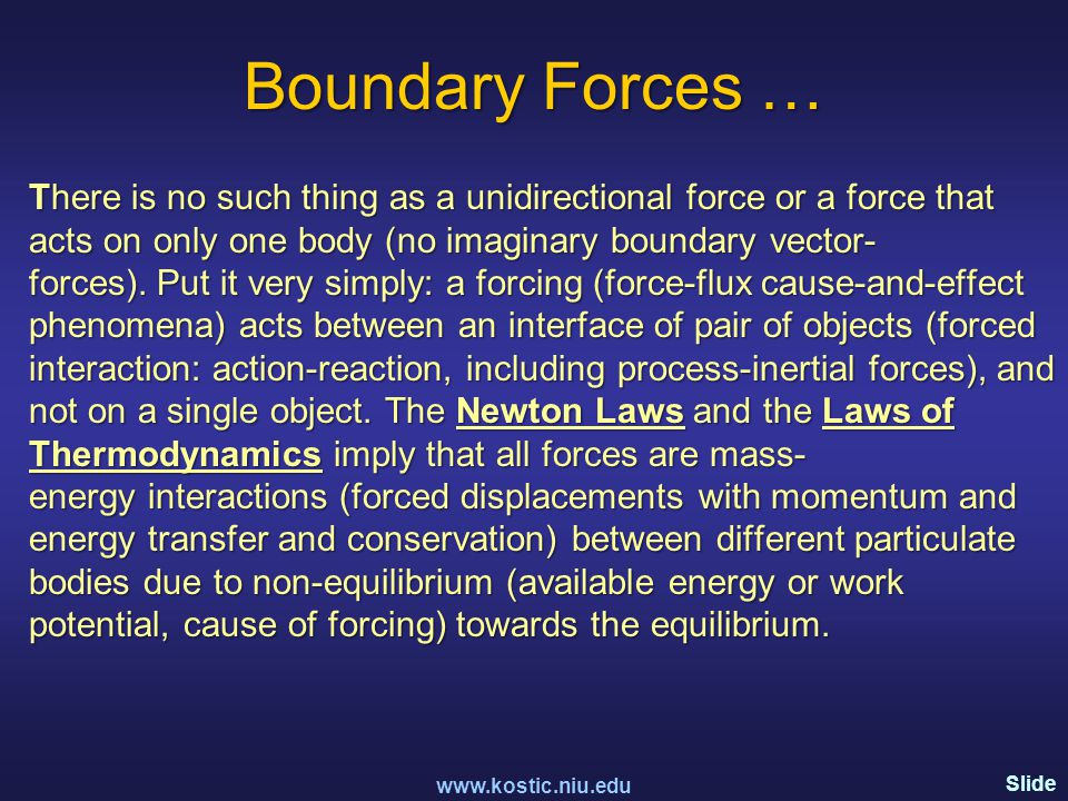 Slide 101 Boundary Forces … There is no such thing as a unidirectional force or a force that acts on only one body (no imaginary boundary vector- forces).
