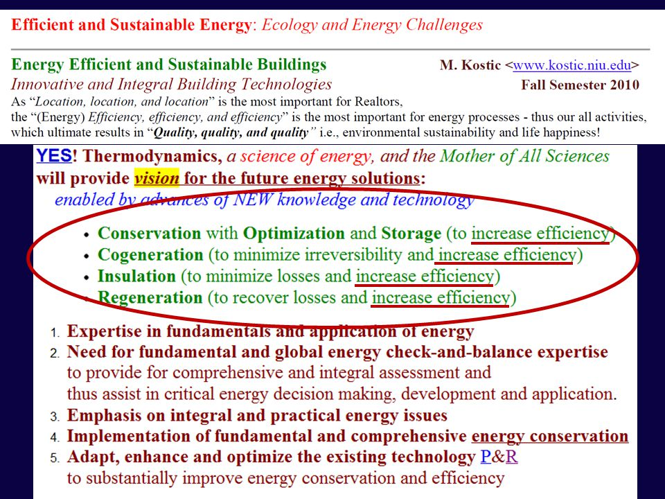 Efficient and Sustainable Energy Energy/Economy/Ecology Challenges and Opportunities