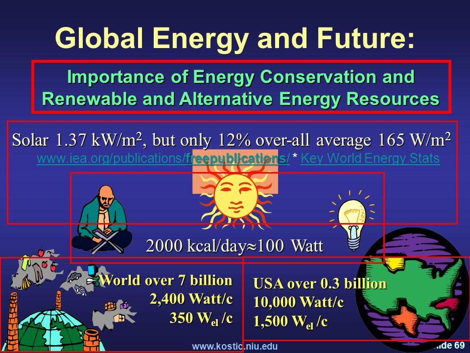 Slide 69 www.kostic.niu.edu Global Energy and Future: Importance of Energy Conservation and Renewable and Alternative Energy Resources 2000 kcal/day  100 Watt USA over 0.3 billion 10,000 Watt/c 1,500 W el /c World over 7 billion 2,400 Watt/c 350 W el /c Solar 1.37 kW/m 2, but only 12% over-all average 165 W/m 2 freepublications www.iea.org/publications/freepublications/freepublications www.iea.org/publications/freepublications/ * Key World Energy StatsKey World Energy Stats