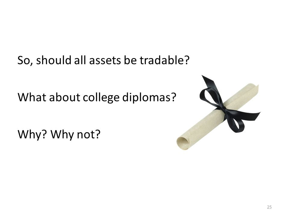 So, should all assets be tradable? What about college diplomas? Why? Why not? 25