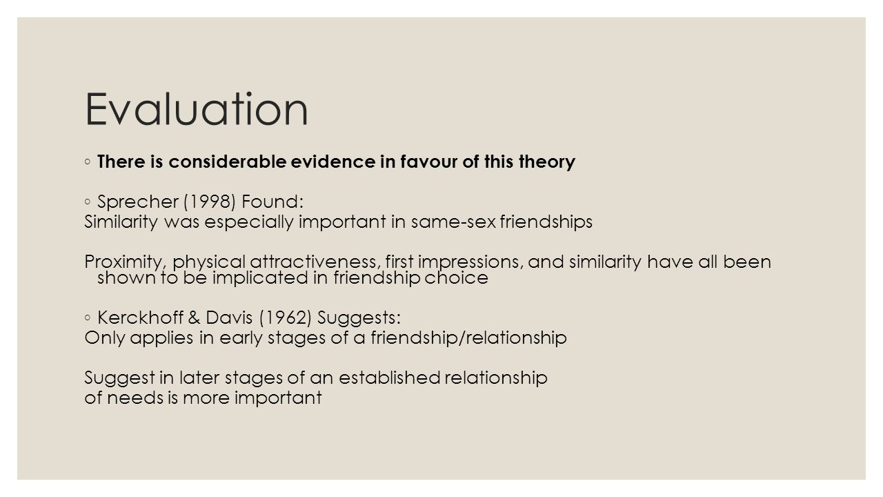 Evaluation ◦ There is considerable evidence in favour of this theory ◦ Sprecher (1998) Found: Similarity was especially important in same-sex friendships Proximity, physical attractiveness, first impressions, and similarity have all been shown to be implicated in friendship choice ◦ Kerckhoff & Davis (1962) Suggests: Only applies in early stages of a friendship/relationship Suggest in later stages of an established relationship of needs is more important