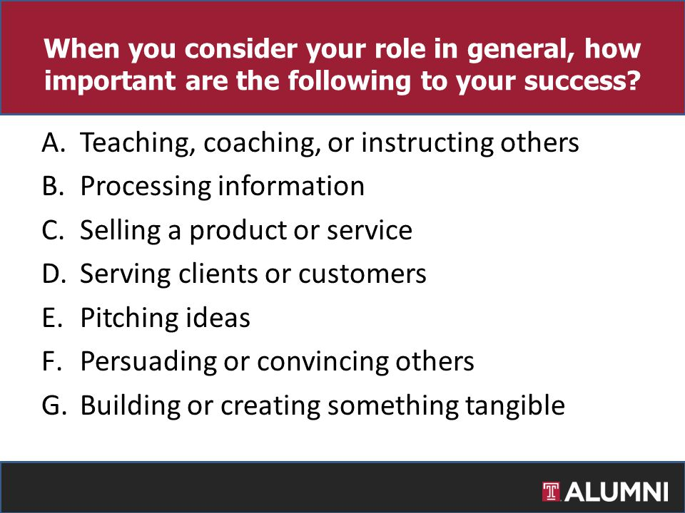 When you consider your role in general, how important are the following to your success? A.Teaching, coaching, or instructing others B.Processing info