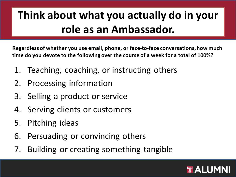 Think about what you actually do in your role as an Ambassador. 1.Teaching, coaching, or instructing others 2.Processing information 3.Selling a produ