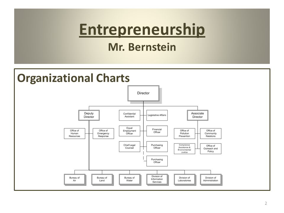 Entrepreneurship Mr. Bernstein 2 Organizational Charts