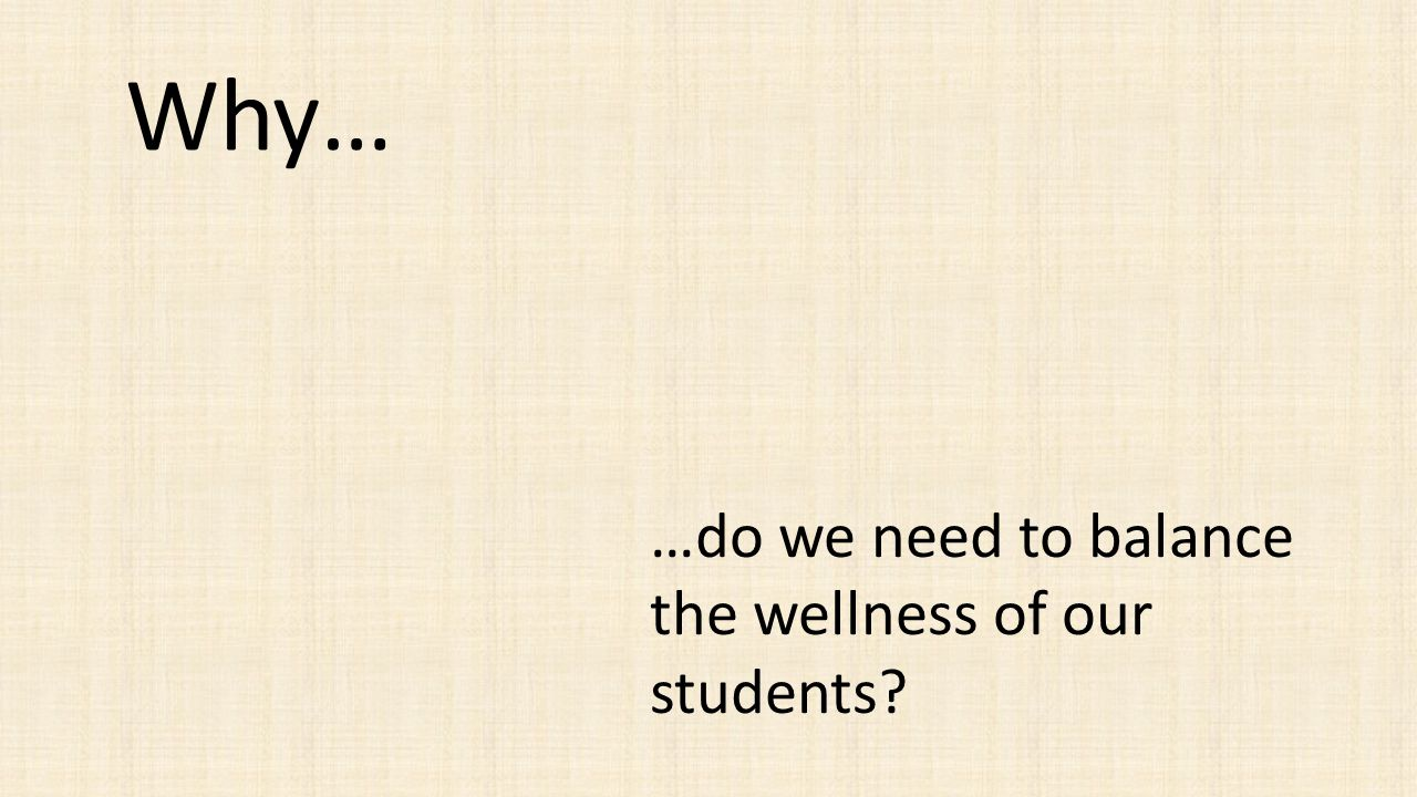 Why… …do we need to balance the wellness of our students?