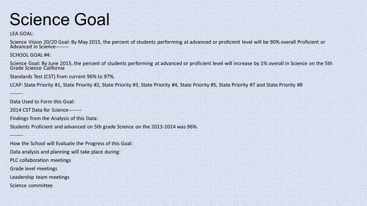 Science Goal