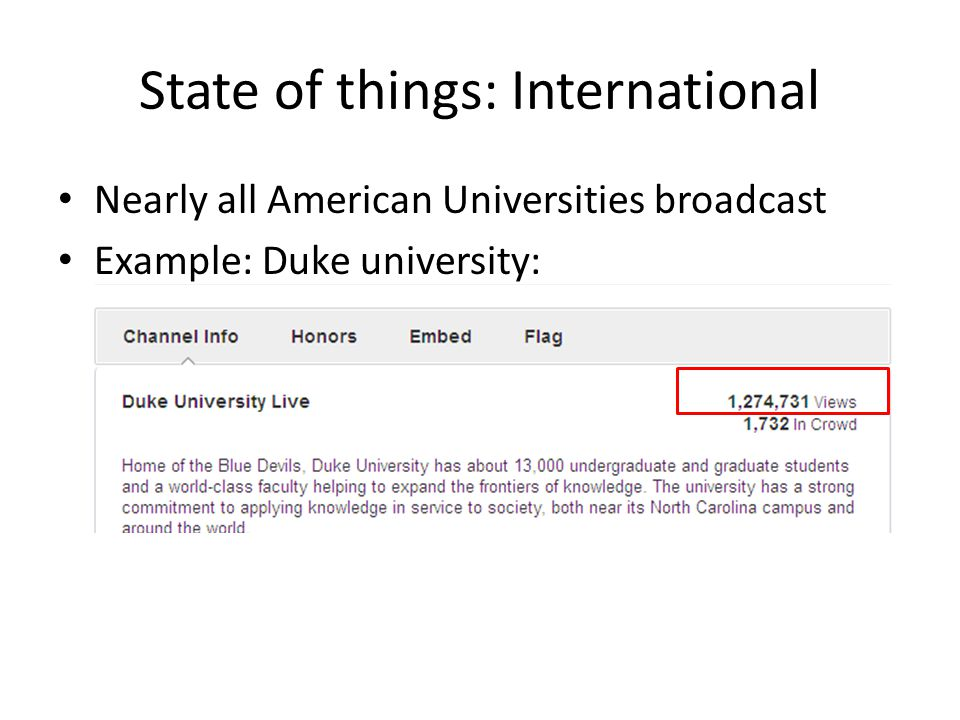 State of things: International Nearly all American Universities broadcast Example: Duke university: