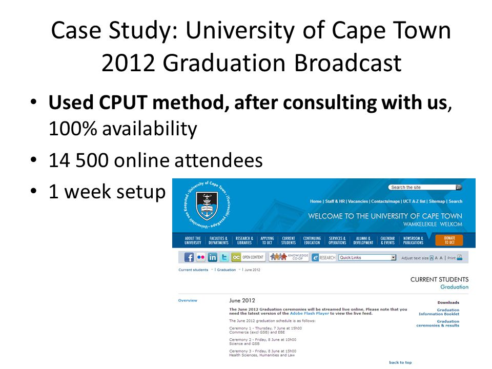 Case Study: University of Cape Town 2012 Graduation Broadcast Used CPUT method, after consulting with us, 100% availability 14 500 online attendees 1 week setup