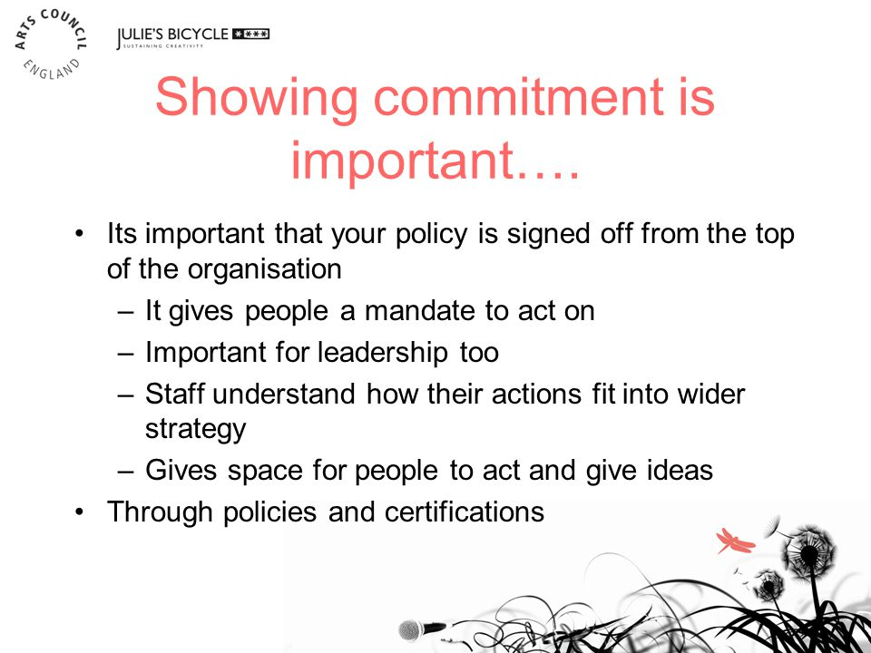 Showing commitment is important….