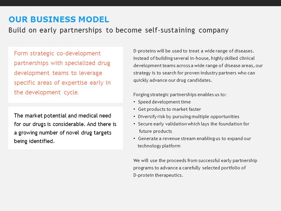 OUR BUSINESS MODEL Build on early partnerships to become self-sustaining company The market potential and medical need for our drugs is considerable.