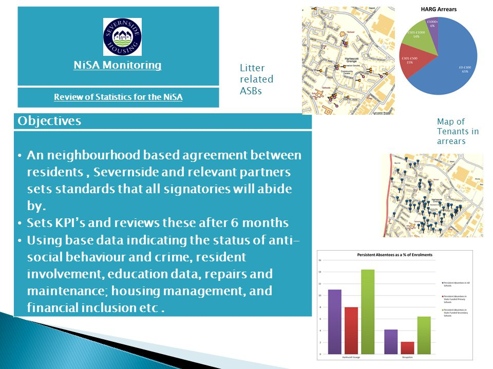 NiSA Monitoring Review of Statistics for the NiSA Objectives An neighbourhood based agreement between residents, Severnside and relevant partners sets