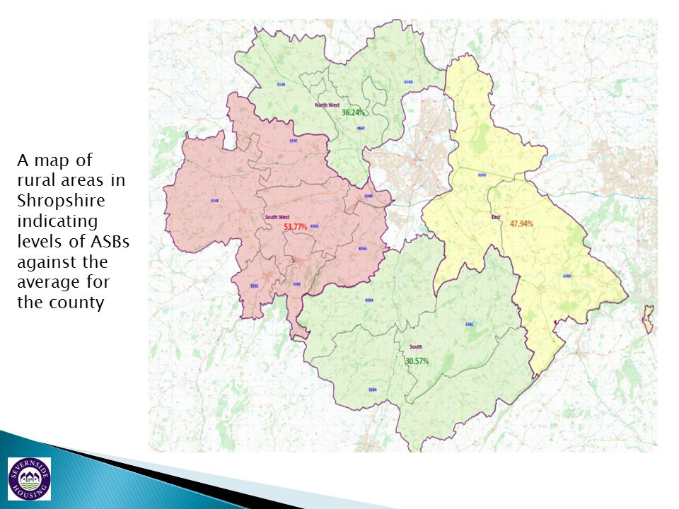 A map of rural areas in Shropshire indicating levels of ASBs against the average for the county