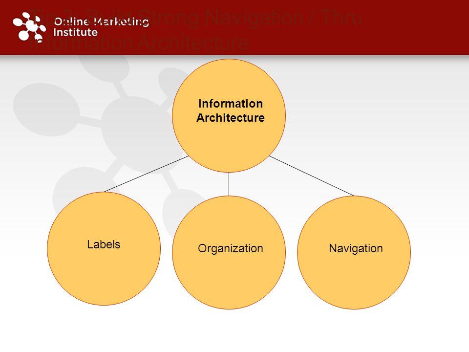 Tip 2: Build Strong Navigation / Thru Information Architecture Labels OrganizationNavigation Information Architecture