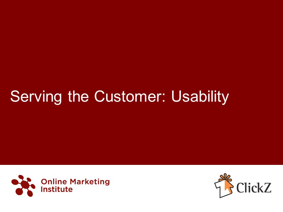 Serving the Customer: Usability
