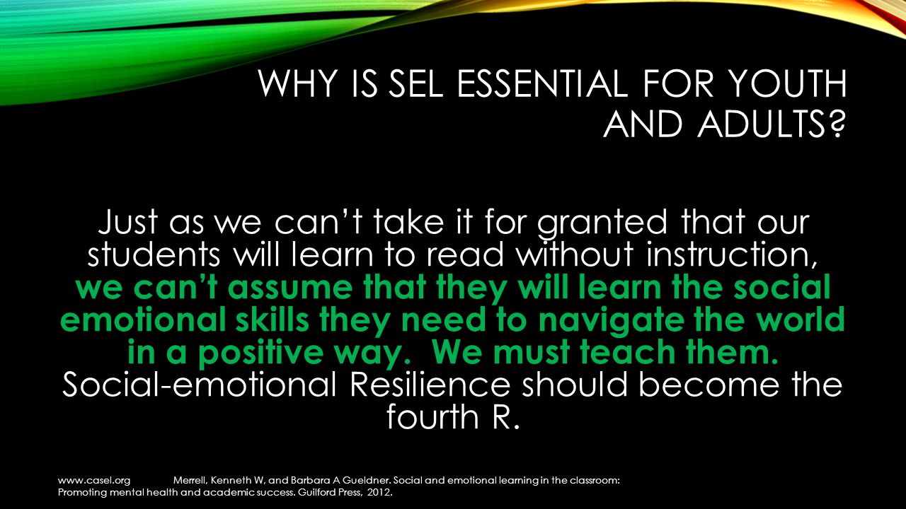 WHY IS SEL ESSENTIAL FOR YOUTH AND ADULTS.