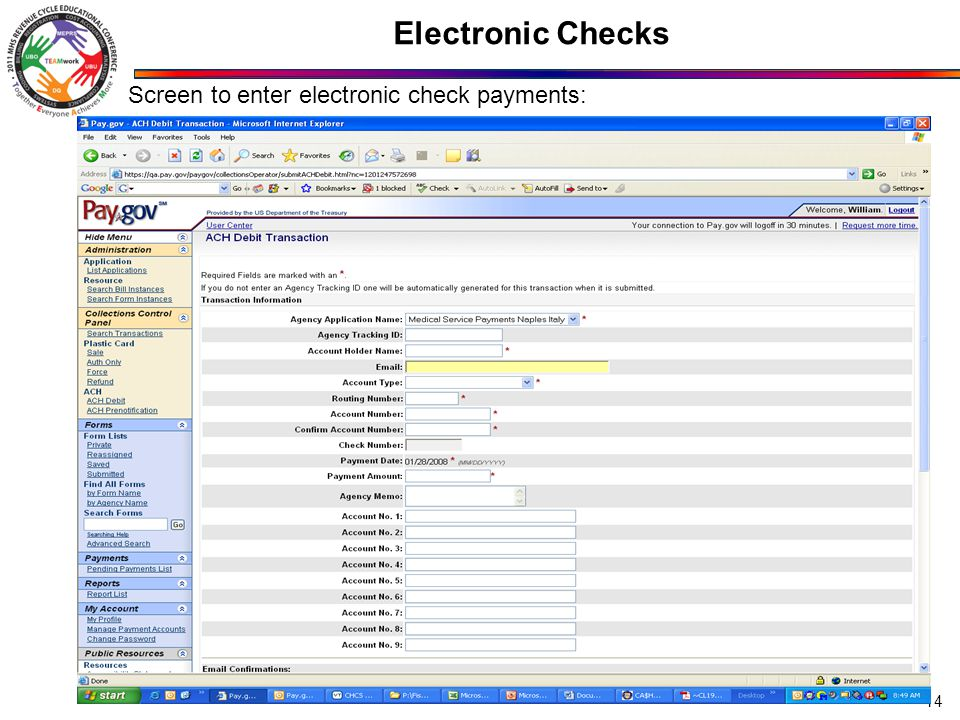 Electronic Checks 14 Screen to enter electronic check payments: