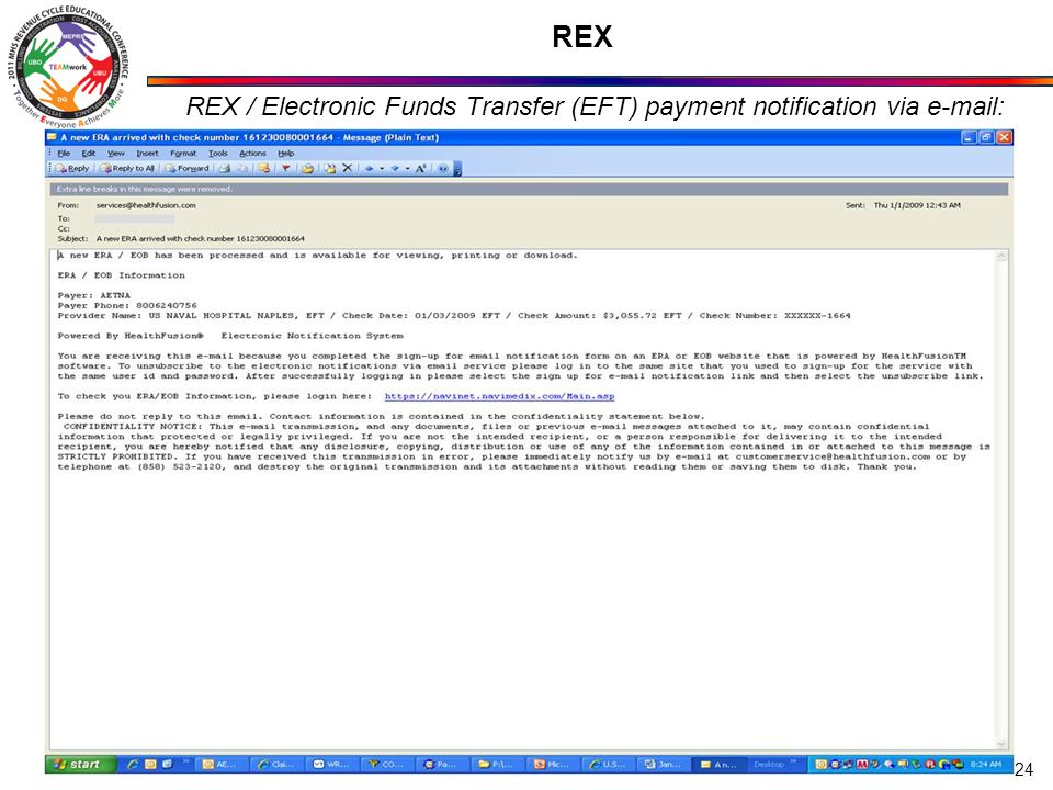 REX / Electronic Funds Transfer (EFT) payment notification via e-mail: 24 REX
