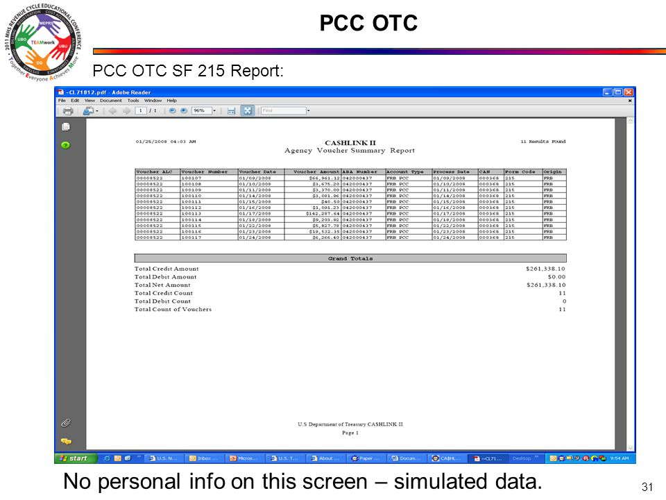 PCC OTC 31 PCC OTC SF 215 Report: No personal info on this screen – simulated data.