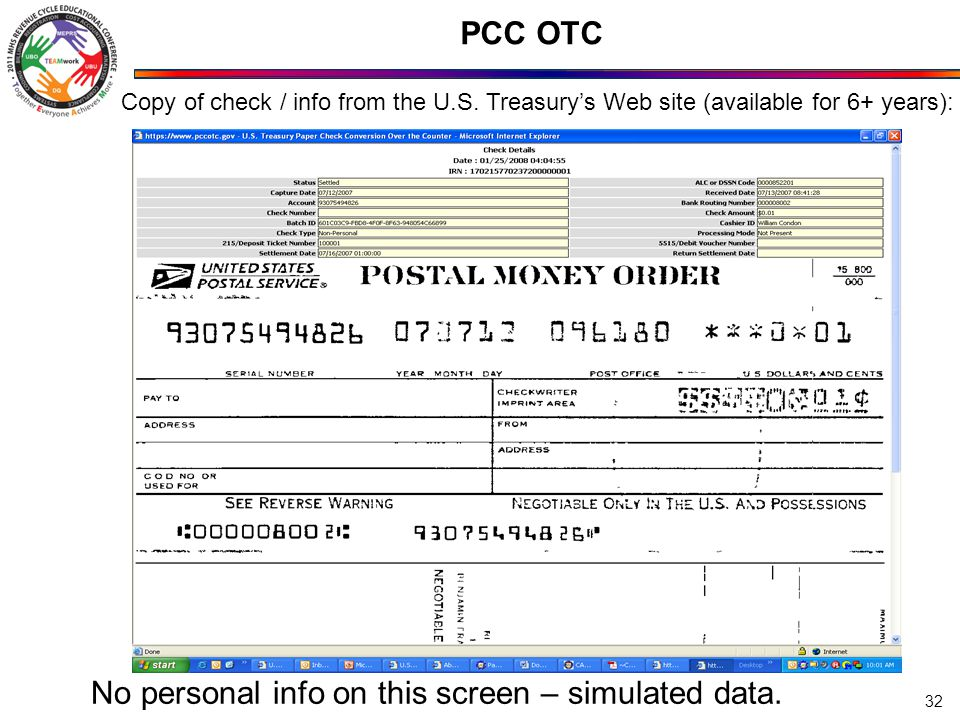 PCC OTC 32 Copy of check / info from the U.S.