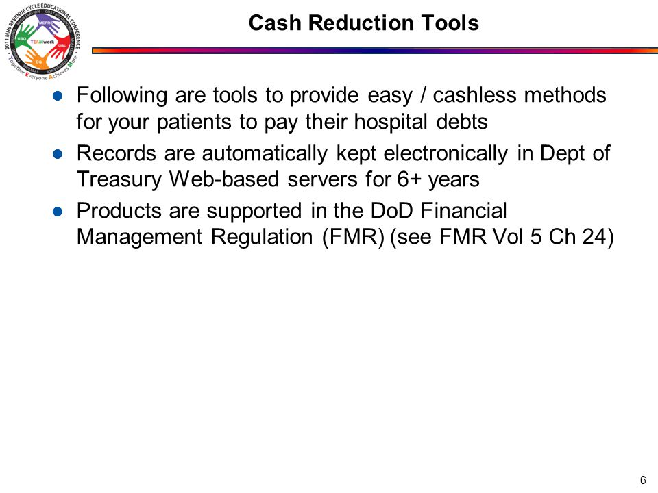 Speed of Deposit / Documentation Tools Following are tools to provide a safe, fast, secure method of depositing checks, while retaining Web-based electronic records for 6+ years Products are supported in the DoD Financial Management Regulation (FMR) (see FMR Vol 5 Ch 24) 27