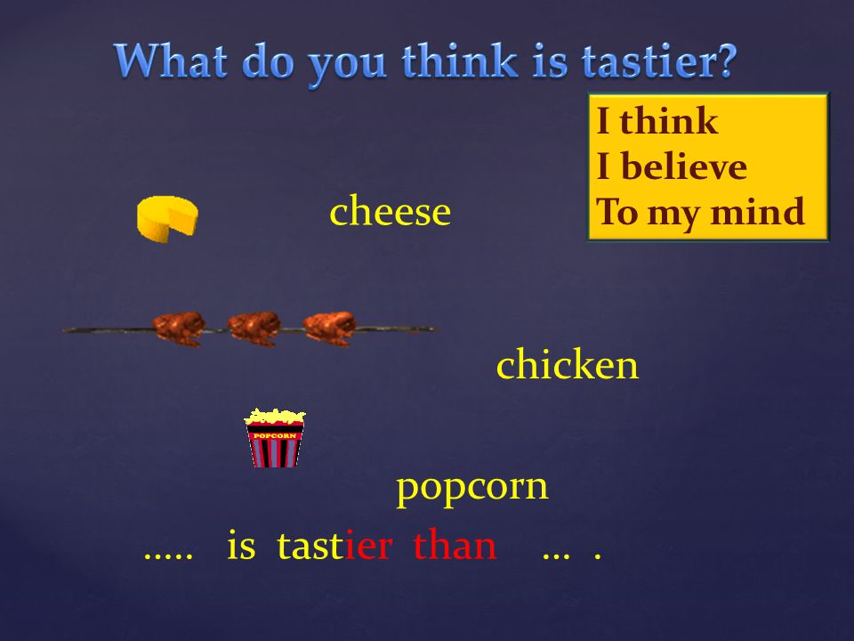 cheese chicken popcorn ….. is tastier than …. I think I believe To my mind