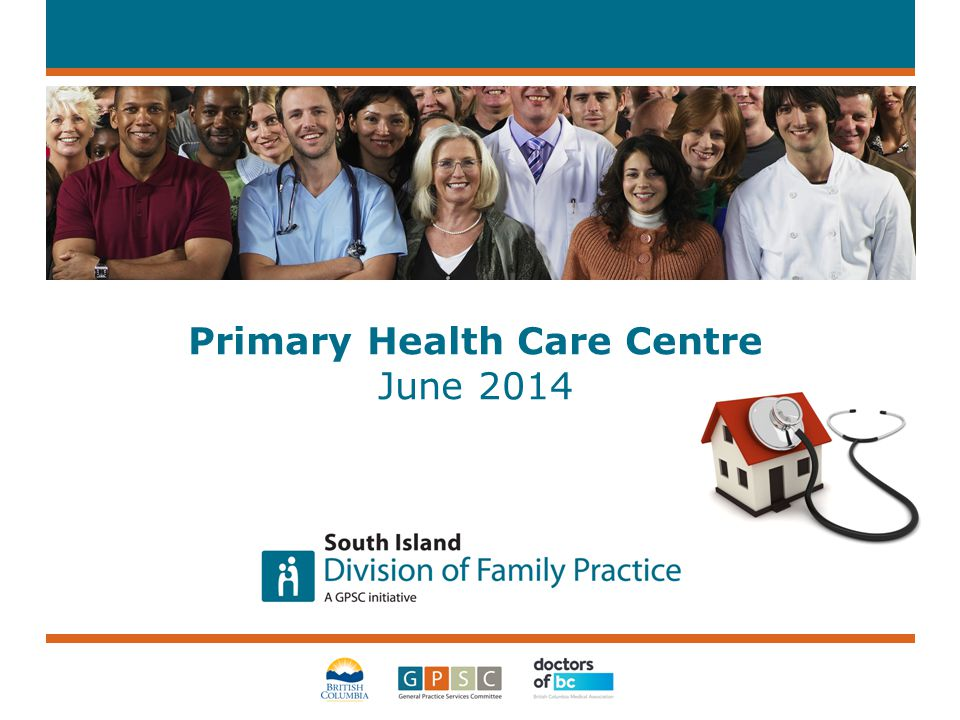 Meeting our Goals 2 Family Practice Physicians PHCC Practice Support Recrui tment Attachment Island Health Regional & Provincial Health Partners Unattached Patients Community Support & Community Resources Building Primary Care Capacity within the South Island Division Region, supporting stronger partnerships and attaching patients to a primary care home.