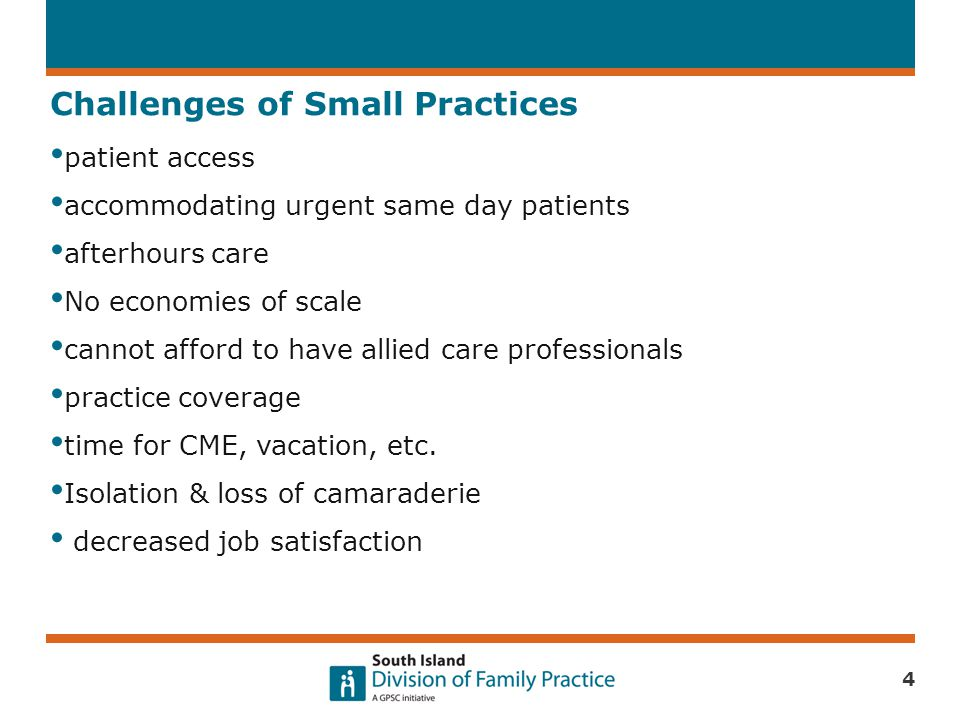 Challenges of Small Practices patient access accommodating urgent same day patients afterhours care No economies of scale cannot afford to have allied care professionals practice coverage time for CME, vacation, etc.