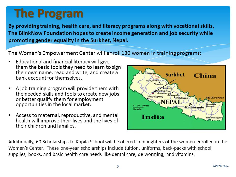 By providing training, health care, and literacy programs along with vocational skills, The BlinkNow Foundation hopes to create income generation and