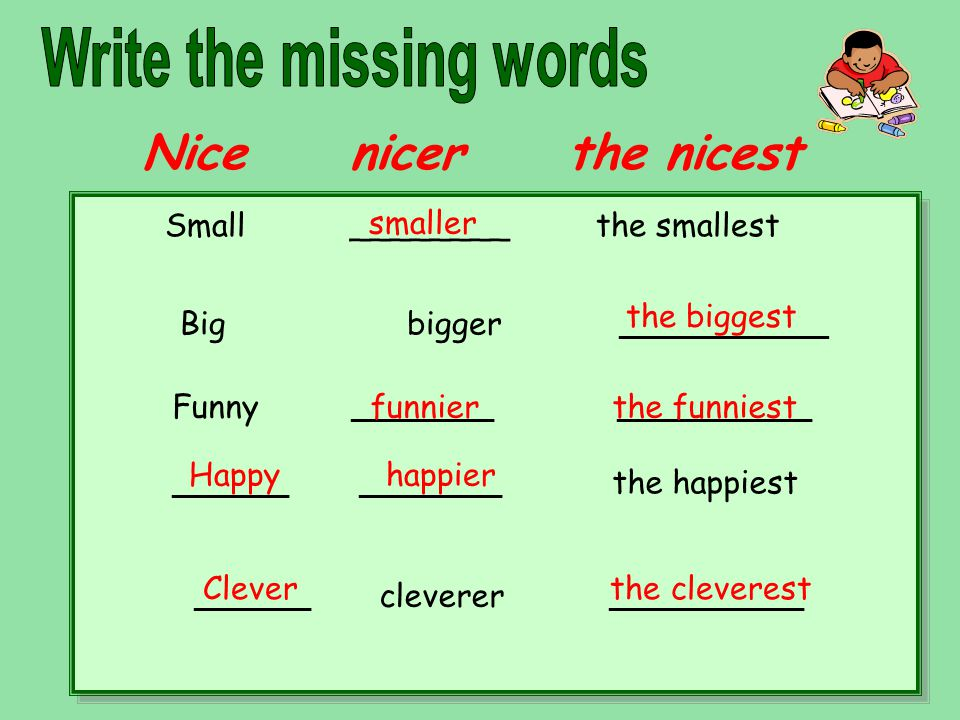 Nice nicer the nicest Small ________ the smallest Big bigger ______________ Funny ___________ _______________ _________ ___________ the happiest _________ cleverer _______________ smaller the biggest funnier the funniest Happy happier Clever the cleverest