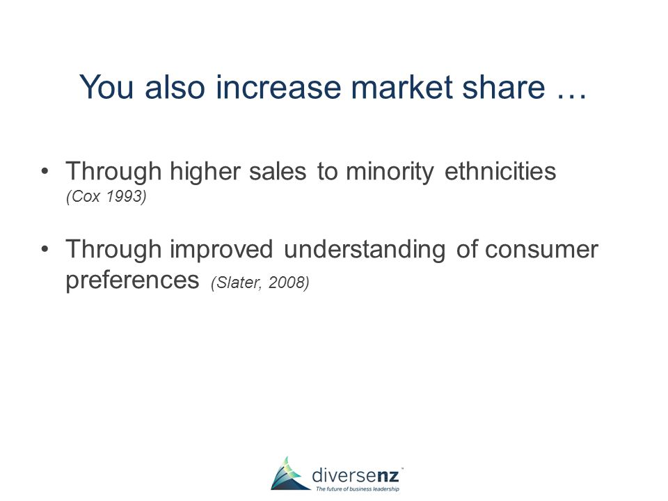 You also increase market share … Through higher sales to minority ethnicities (Cox 1993) Through improved understanding of consumer preferences (Slater, 2008)