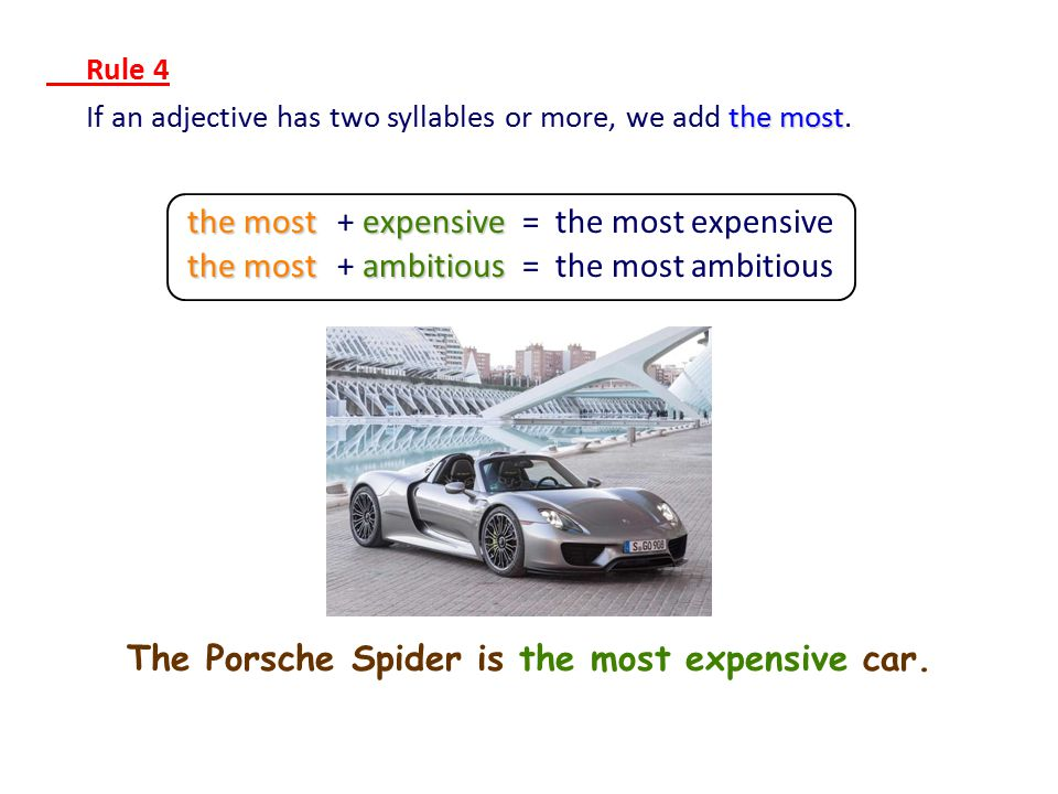 The Porsche Spider is the most expensive car.