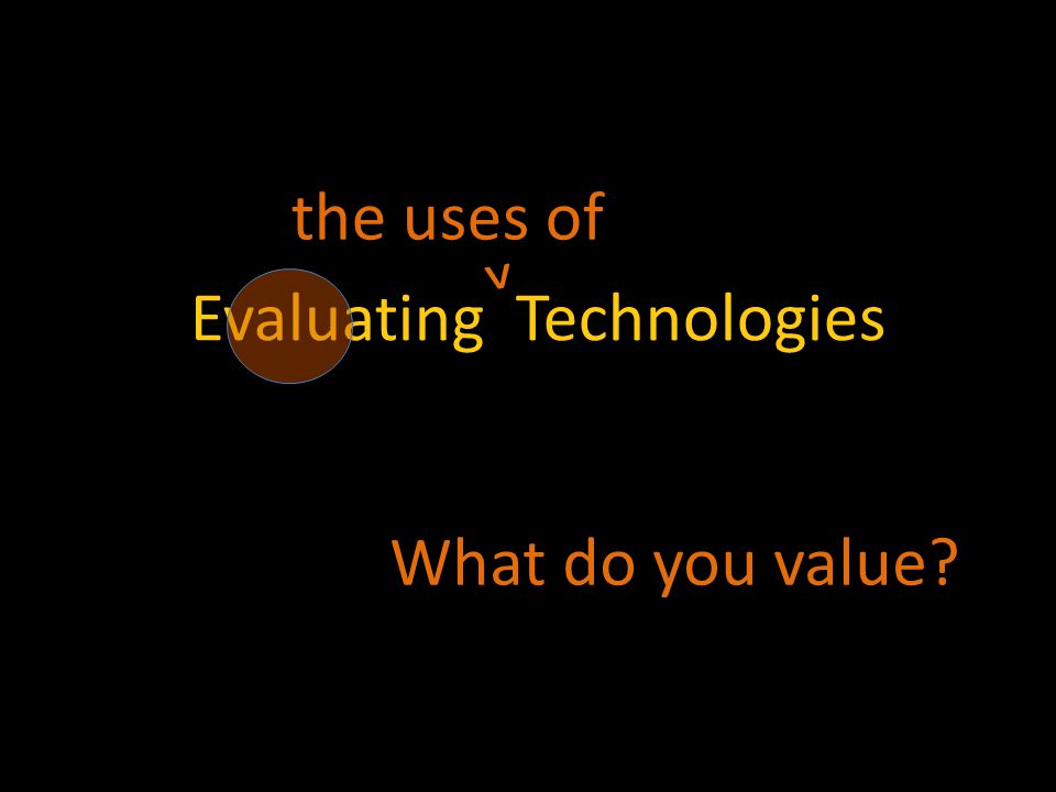 Evaluating Technologies What do you value the uses of ^