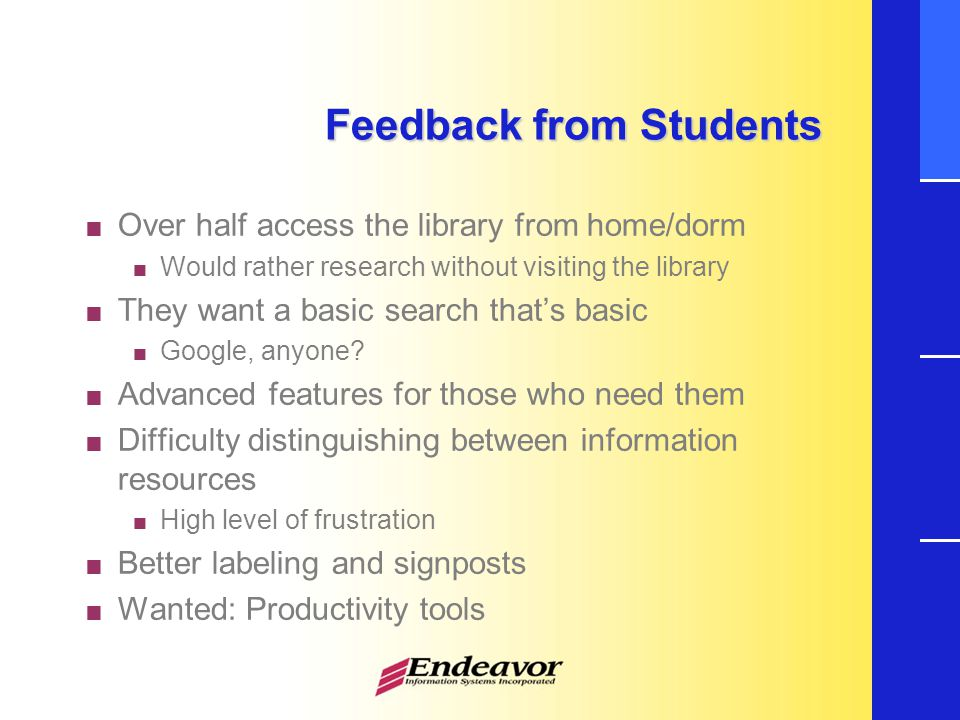 Feedback from Students  Over half access the library from home/dorm  Would rather research without visiting the library  They want a basic search that's basic  Google, anyone.