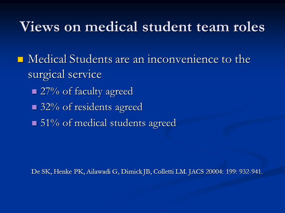 Views on medical student team roles Medical Students are an inconvenience to the surgical service Medical Students are an inconvenience to the surgica