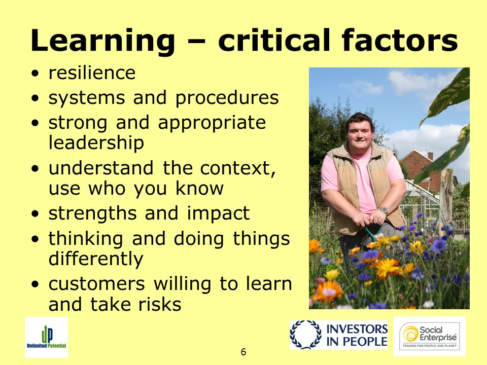 6 Learning – critical factors resilience systems and procedures strong and appropriate leadership understand the context, use who you know strengths and impact thinking and doing things differently customers willing to learn and take risks