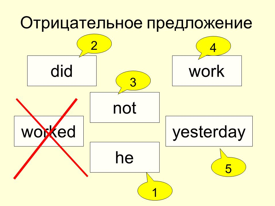 Отрицательное предложение did not he workedyesterday work 2 4 3 1 5