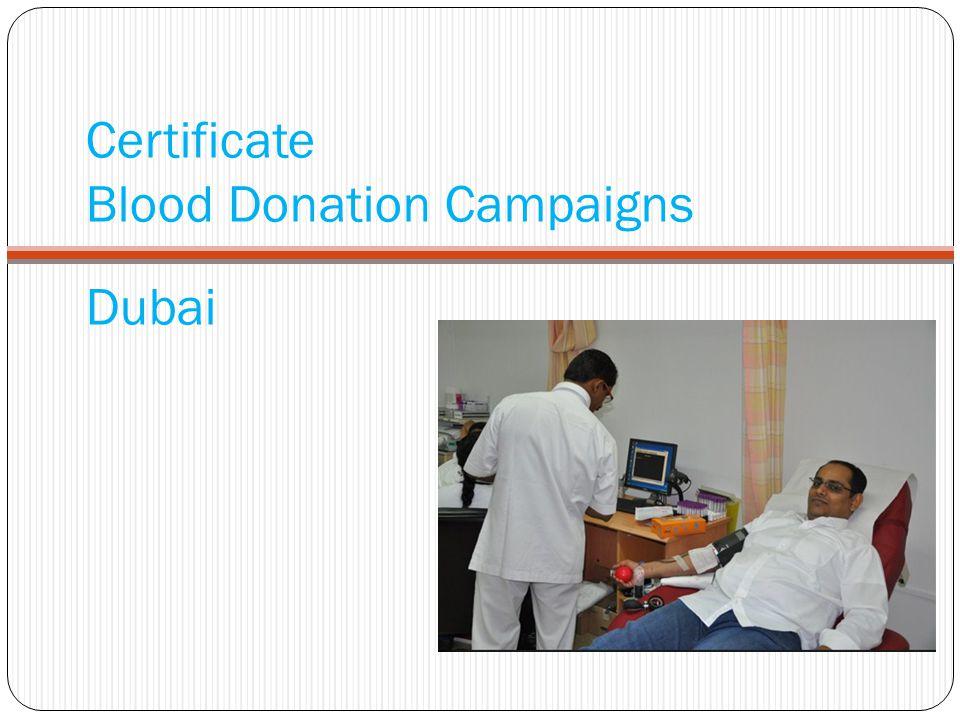 Certificate Blood Donation Campaigns Dubai