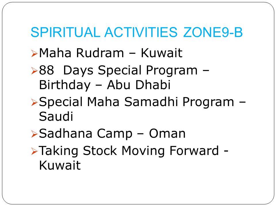 SPIRITUAL ACTIVITIES ZONE9-B  Maha Rudram – Kuwait  88 Days Special Program – Birthday – Abu Dhabi  Special Maha Samadhi Program – Saudi  Sadhana Camp – Oman  Taking Stock Moving Forward - Kuwait