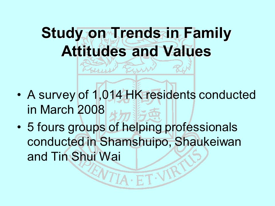 Study on Trends in Family Attitudes and Values A survey of 1,014 HK residents conducted in March 2008 5 fours groups of helping professionals conducted in Shamshuipo, Shaukeiwan and Tin Shui Wai